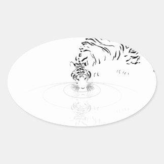 Drinking Tiger Oval Sticker