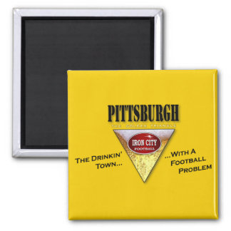 Drinking Town with a Football Problem 2 Inch Square Magnet
