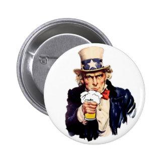 Drinking Uncle Sam 2 Inch Round Button