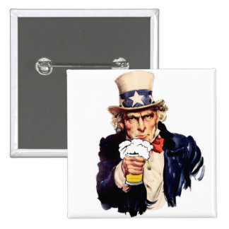 Drinking Uncle Sam 2 Inch Square Button