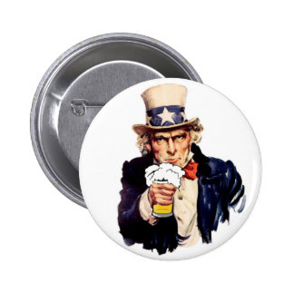 Drinking Uncle Sam Pinback Button
