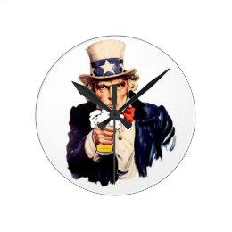 Drinking Uncle Sam Round Clock
