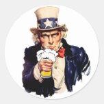 Drinking Uncle Sam Round Sticker