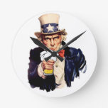 Drinking Uncle Sam Round Wall Clock