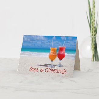 Drinks Beach Christmas Seas n Greetings Folded Card
