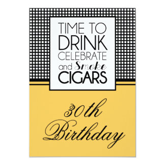 Drinks & Cigars Birthday Celebration Invitation