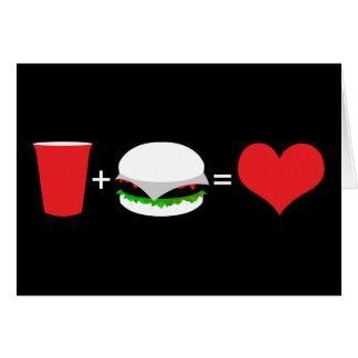 drinks + hamburgers = love card