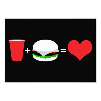 drinks + hamburgers = love card