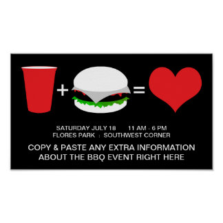 drinks + hamburgers = love poster