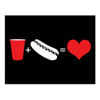 drinks + hot dogs = love postcard