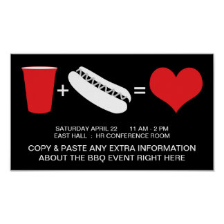 drinks + hot dogs = love poster