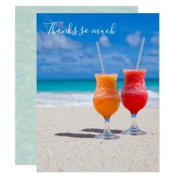 Beach Themed Drinks on Beach Thank You Blank Tropical Cards