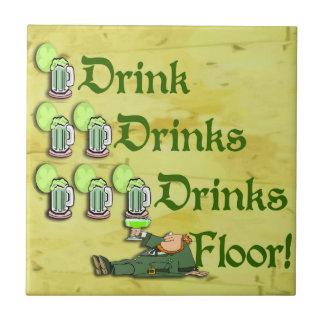 Drinks On Me! ~ Irish Leprechaun Bar Coaster Tile