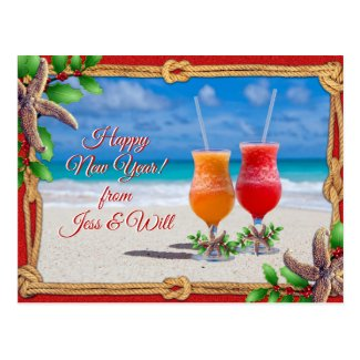 Drinks on the Beach Holiday Greeting Couple Postcard