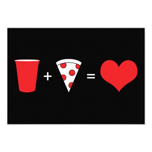 drinks + pizza = love personalized invite