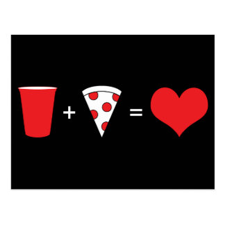 drinks + pizza = love postcard