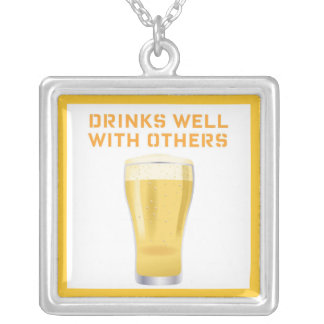 DRINKS WELL WITH OTHERS FUN BEER PRINT SILVER PLATED NECKLACE