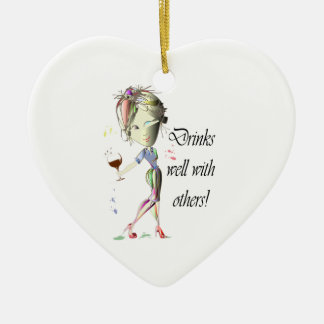 Drinks well with others, funny Wine art Ceramic Ornament
