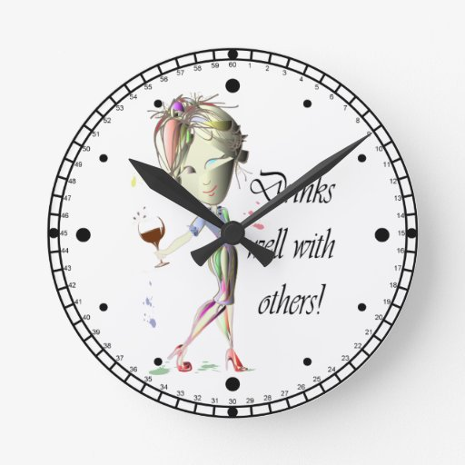 Drinks well with others, funny Wine art Wall Clocks