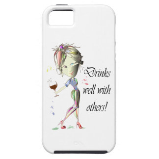 Drinks well with others, funny Wine art iPhone SE/5/5s Case