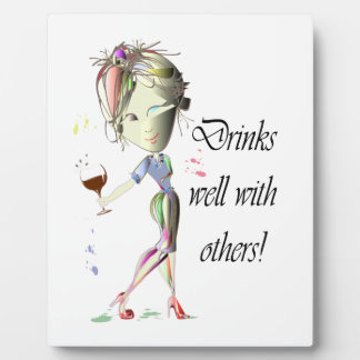 Drinks well with others, funny Wine art Photo Plaques