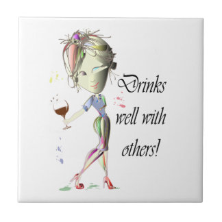 Drinks well with others, funny Wine art Small Square Tile