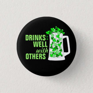 Drinks Well with Others Mugs o' Shamrocks Button