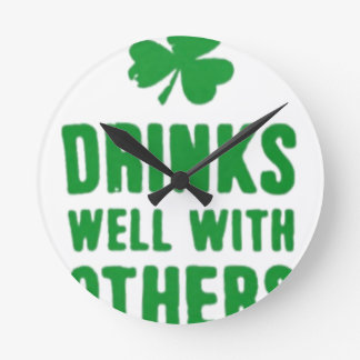 Drinks Well With Others St. Patrick's Day Tee Round Clock
