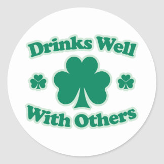 Drinks Well With Others Round Stickers