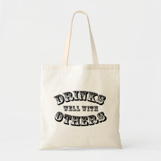 Drinks Well With Others Vintage Style Tote Bag