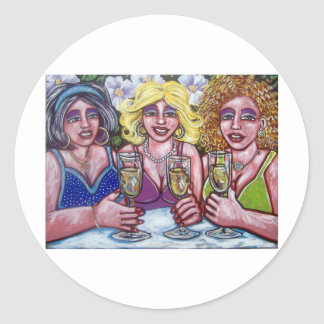 drinks with the ladies classic round sticker