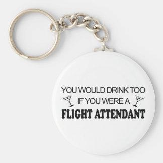 DrinkToo - asistente de vuelo Llavero Redondo Tipo Pin