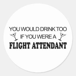 DrinkToo - asistente de vuelo Pegatina Redonda