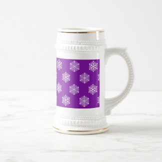 Drinkware púrpura con los copos de nieve taza