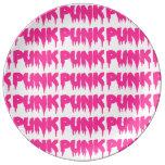 "Drip Font ""PUNK"" Porcelain Plate - Pink Text"