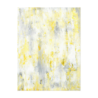 'Drip' Grey and Yellow Abstract Art Canvas Print