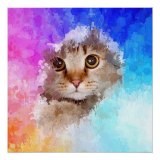 drip paint cat, abstract art perfect poster
