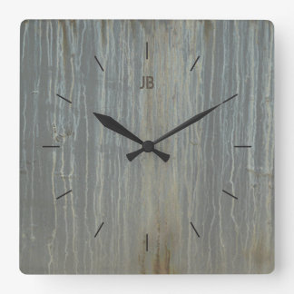 DRIP STAINED METAL | industrial or urban decor Square Wall Clock