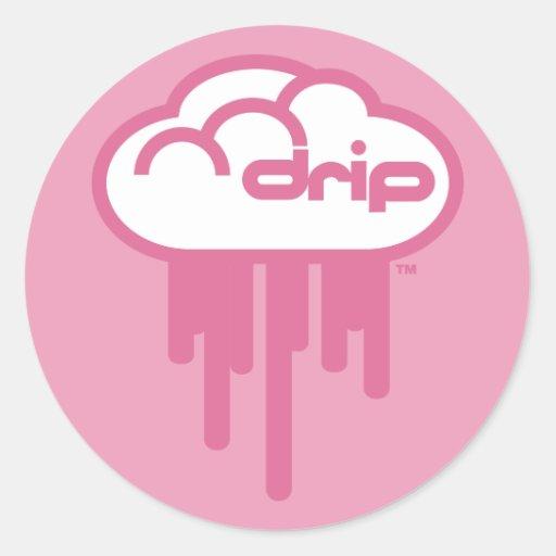 Driplogo en el rosa de Bubblegum Etiqueta Redonda