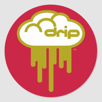 Driplogo in Red and Gold Classic Round Sticker