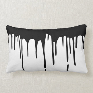Dripping Black Piant B&W Throw Pillow