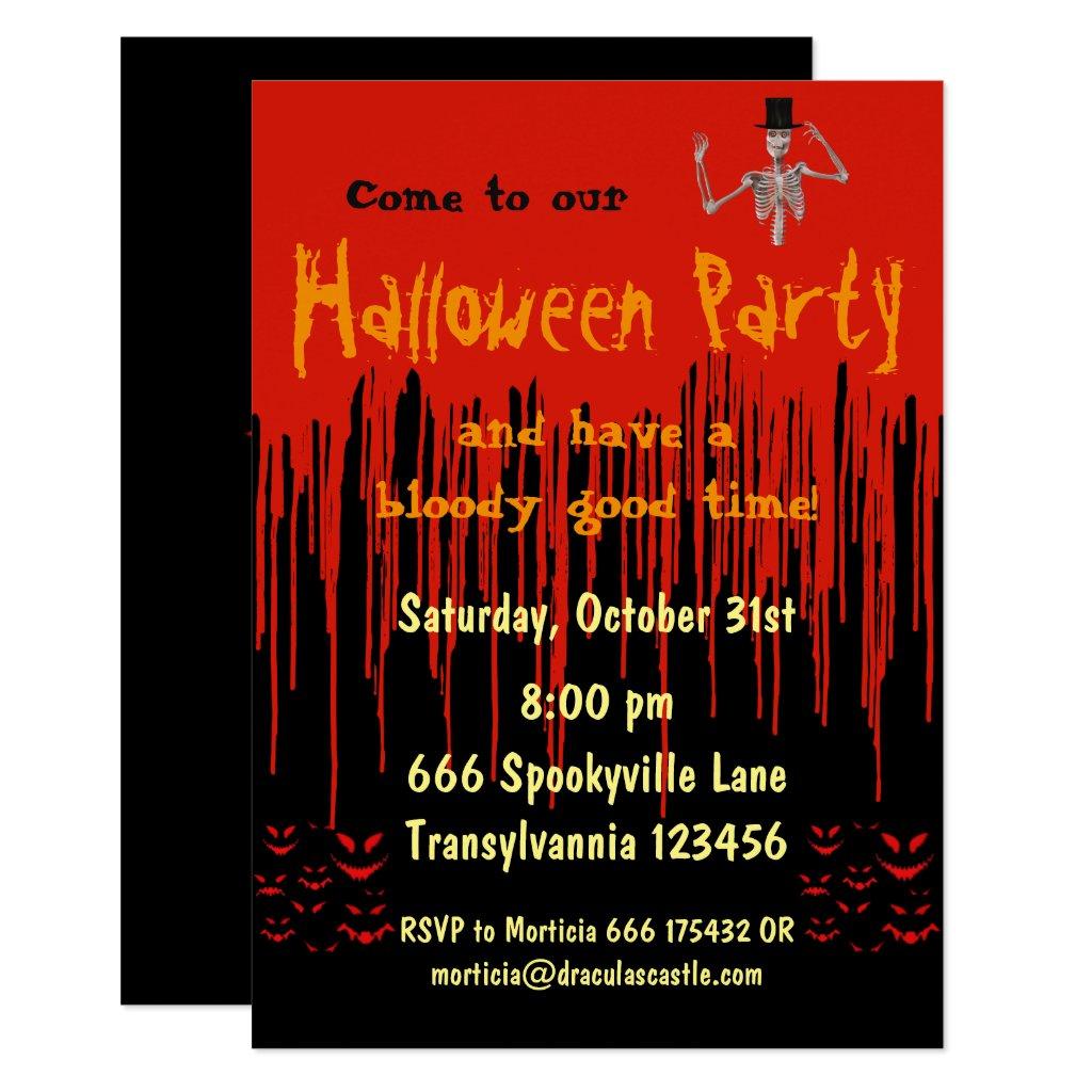 Dripping Blood Halloween Invitation