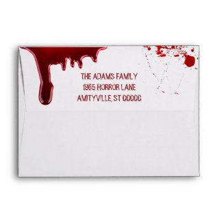 Dripping Blood Splatters Scary Halloween Party Envelope