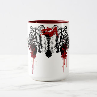 dripping blood Two-Tone coffee mug