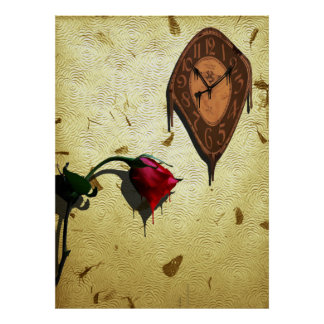 Dripping Clock and single Red Rose Poster