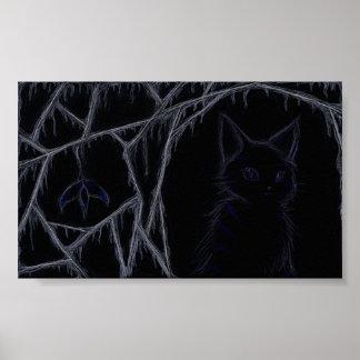 Dripping cobwebs cat poster