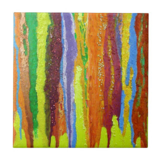 Dripping Colors Abstract Art Design Gifts Ceramic Tile