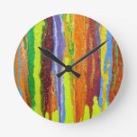 Dripping Colors Abstract Art Design Gifts Round Wallclocks