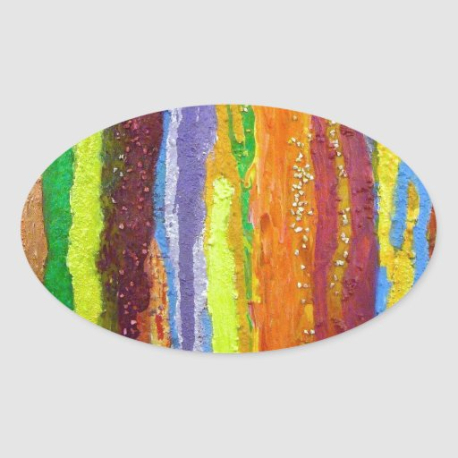 Dripping Colors Abstract Art Design Gifts Oval Sticker