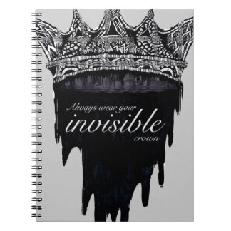 Dripping Crown with Text - v2 Spiral Notebook